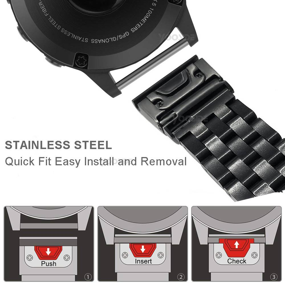 Yooside 26mm ajuste rápido pulseira de relógio