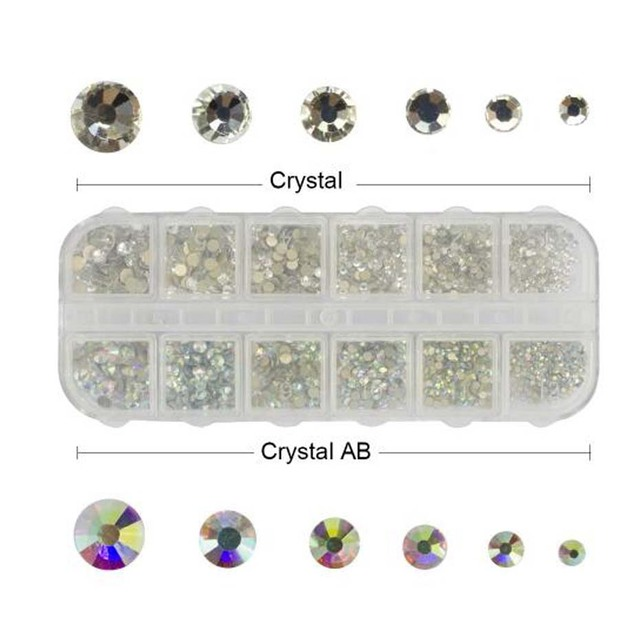12 grilles sirène AB ongles strass perle métal étoile coeur diamant FlatBack Non Hotfix Nail Art décoration manucure outil JI090