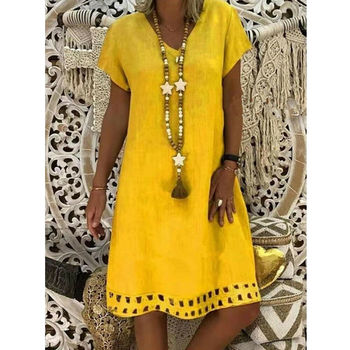 New Women Short Sleeve Dress Solid V Neck Summer Beach Cotton Linen Casual Kaftan Maxi Loose Tops Dresses Plus Size S-3XL 3