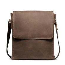 Free Shipping Men's Crazy Horse Leather Vintage Zipper Single Laptop Messenger Shoulder Attache Portfolio Falp Trend BagT8864