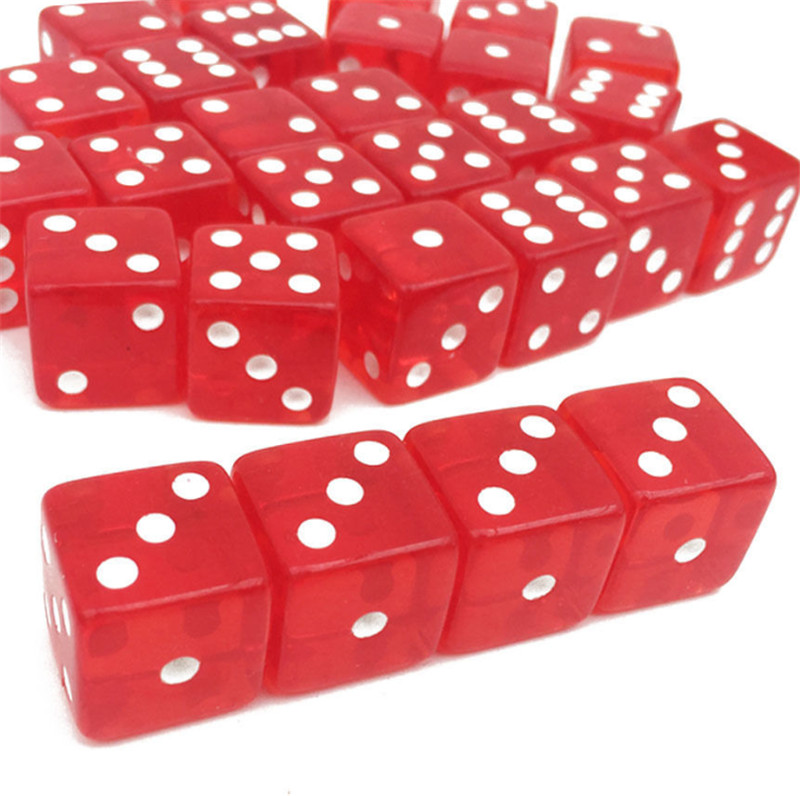 10pcs/lots 19mm Cubic Transparent Colorful Red Exquisite Dice Collection Decoration Game Dice High Quality Dices