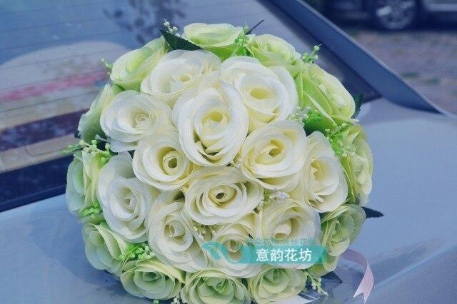 2017 Дешевые Свадебные/Невесты Свадебный Букет Новый Кот и Зеленый Роза Ручной Работы Искусственные Букеты де mariage рамо де ла бода
