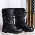 2017 autumn promotion women's Motorcycle boots fashion Buck Rivets lace up punk style boots Free shipping