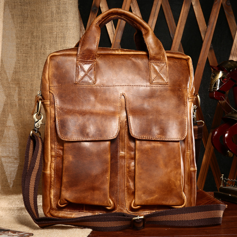 Men Vintage Crazy Horse Cowhide Genuine Leather Hand Bag Shoulder Messenger Male Bag Casual Totes Top Handle Bags  Briefcase купить