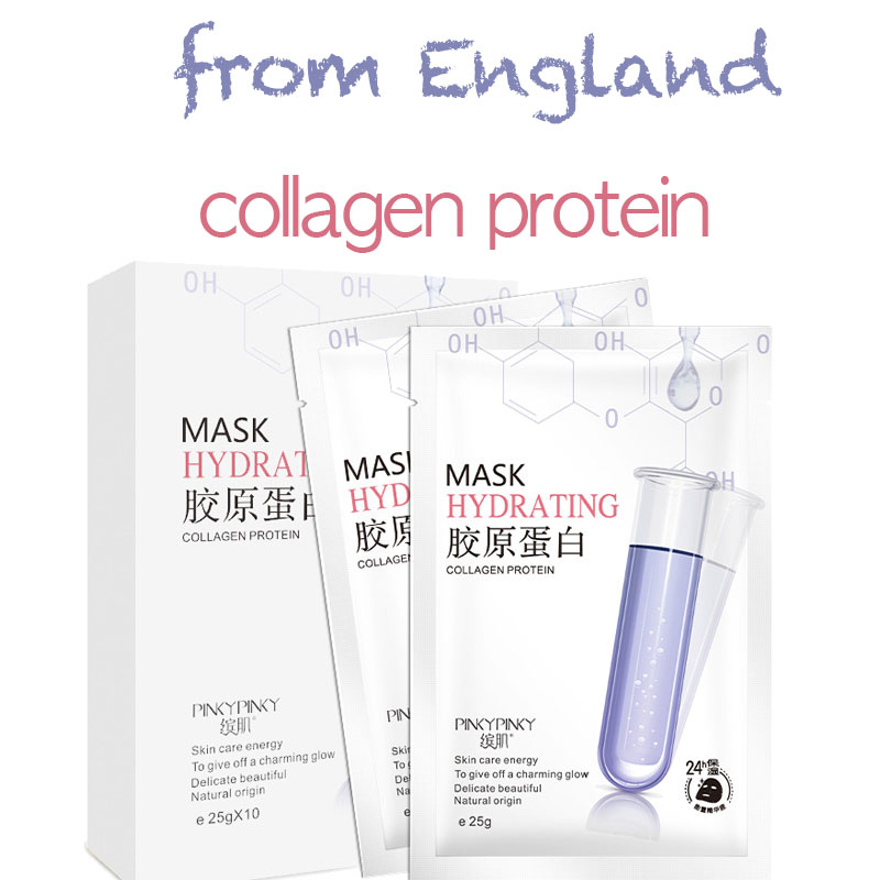Collagen Facial Mask England Sheet Mask Moisturizing Silk Face Mask Shrink Pores Hyaluronic Acid Skin Care Anti-Aging Whitening