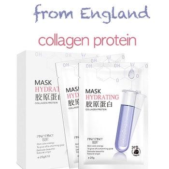 collagen facial mask England sheet mask moisturizing silk face mask shrink pores hyaluronic acid skin care Anti-Aging Whitening цена 2017