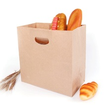 28x28x15cm 10pcs/set Kraft Paper Bag with Die-Cut Handles for Restaurants Gifts Birthdays