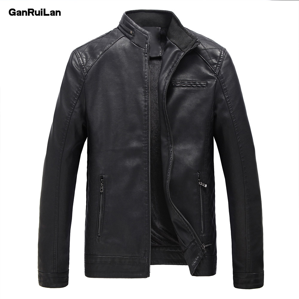 2019 New Men Leather Jacket Spring Autumn Fashion High Quality PU Casual Biker Jacket Male Outerwear & Coats M-5XL JK18009