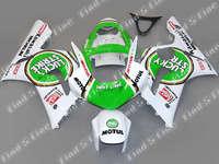Vert blanc pour KAWASAKI Ninja ZX-6R 03-04 ZX6R 03 04 ZX6R 636 2003-2004 ZX 6R 03 04 2003 2004 ABS carénage kit