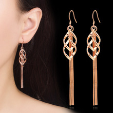 Fashion Long Water Drop Crystal Earrings Girl Hollow Lozenge Formed For Women Jewelry