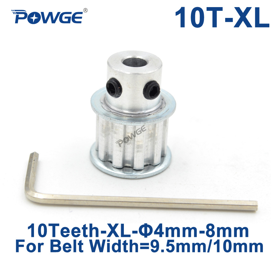 POWGE Inch Type 10 Teeth XL Timing pulley Bore 4/5/6/6.35/8mm for width 9.5mm XL Synchronous Belt 10-XL-037 BF 10teeth 10T все цены