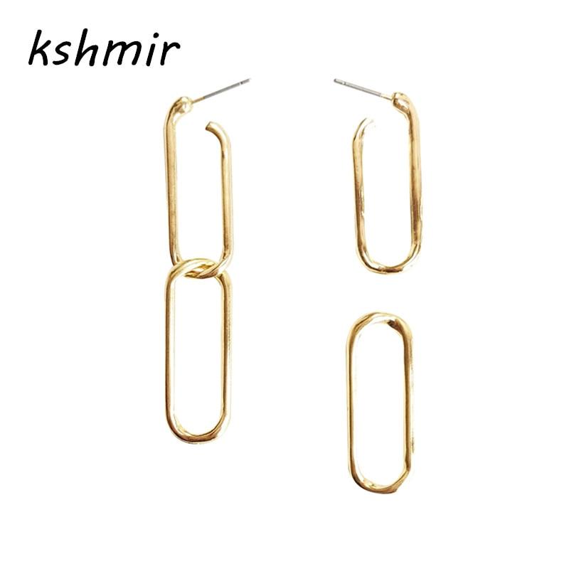 kshmir Retro minimalist chain buckle long dangler earrings temperament Joker hand made jewelry earring eardrop female