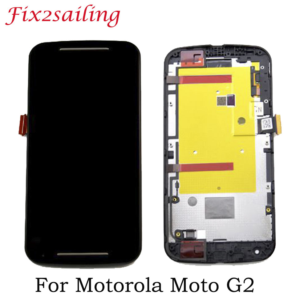 Black Screen For <font><b>Motorola</b></font> MOTO G2 XT1063 XT1064 <font><b>XT1068</b></font> XT1069 LCD <font><b>Display</b></font> Touch Screen Frame Assembly Replacements Tested LCDS image