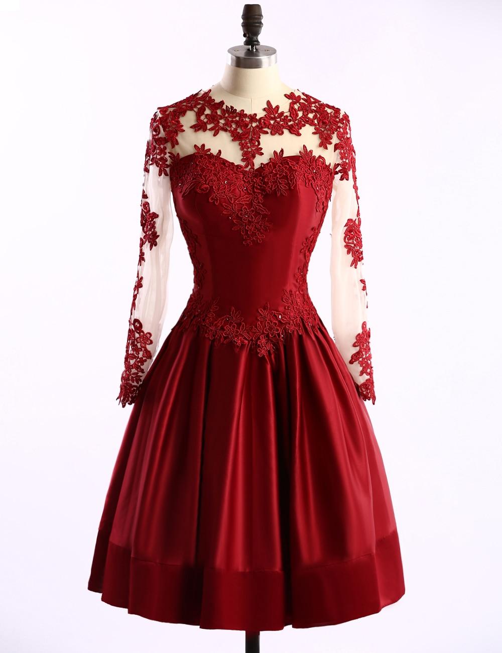 Aliexpress.com : Buy Burgundy Long Sleeve Prom Dresses 2016 Hot ...