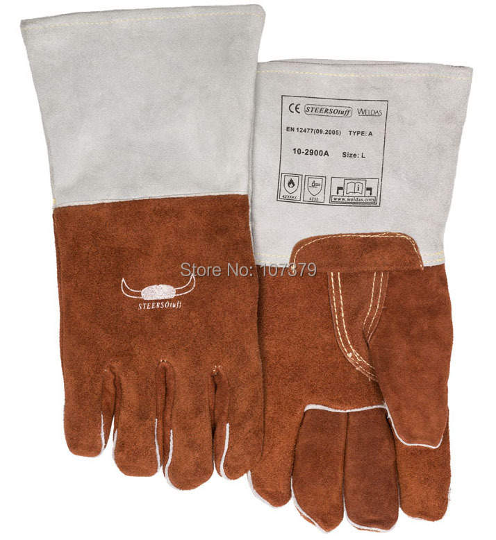 250 degree Celsius High Heat Resistant Safety Glove Leather Work Gloves TIG MIG Grain Cow Leather Welding Gloves tig finger glove combo welder tool glass fiber welding gloves heat shield guard heat protection equipment by weld monger
