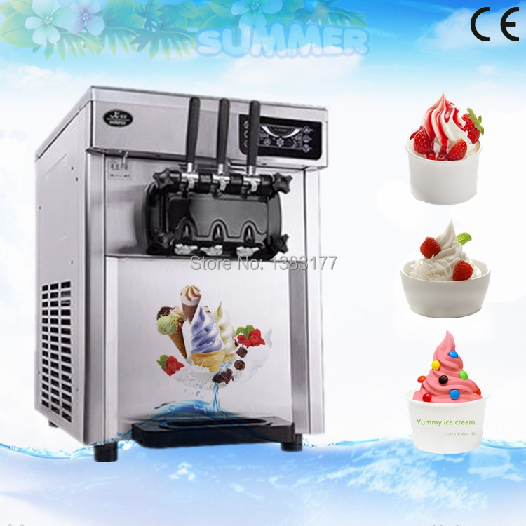 vosoco commercial ice cream machine small desktop soft ice cream cone automatic sundae 3 taste stainless steel 2100w 220v 50hz free ship 2017 commercial desktop soft ice cream machine Stainless Steel LED sweet ice cream cone auto ice cream maker