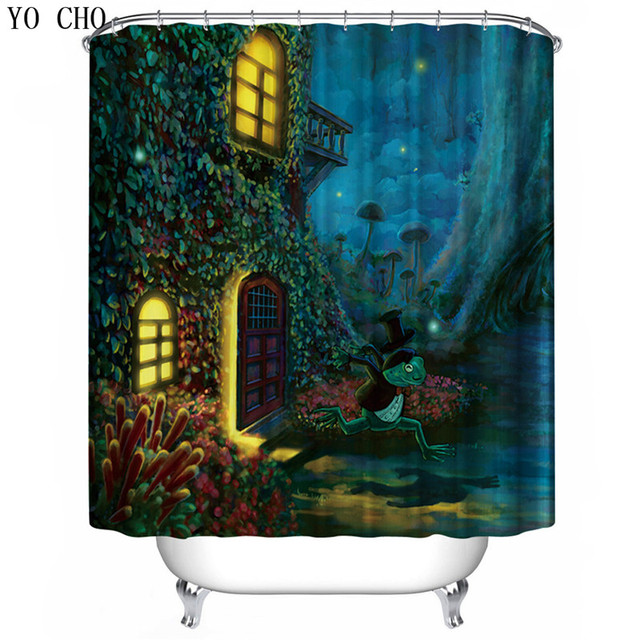 YO CHO Fairy Tale Castle Pattern Shower Curtains Fantasy Beautiful House Surround With Flowers Trees
