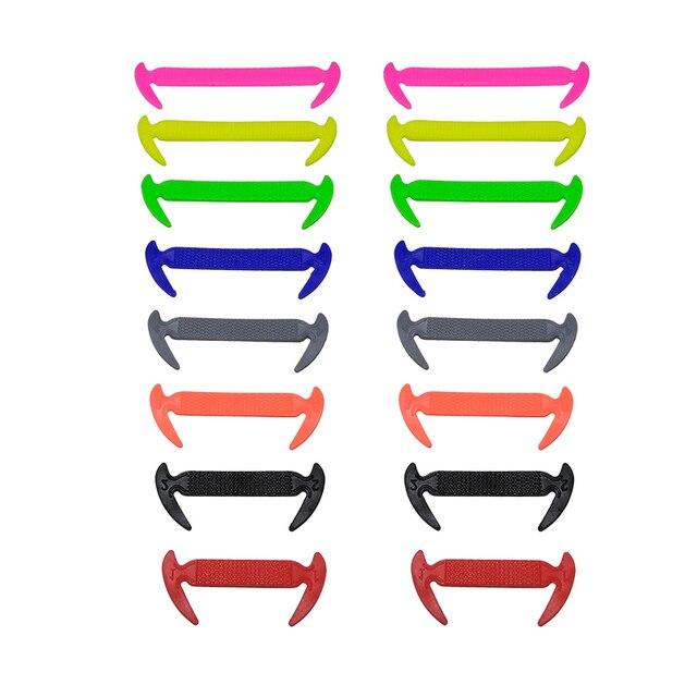 16pcs/lot Elastic Silicone Shoelaces For Shoes Special Shoelace No Tie Shoe Laces For Men Women Lacing Shoes Rubber Shoelace