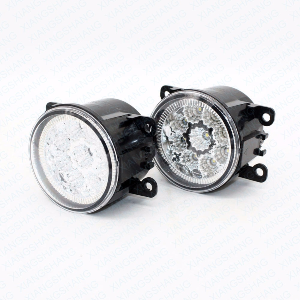 2pcs Car Styling Round Front Bumper LED Fog Lights DRL Daytime Running Driving  For Suzuki ALTO V GF Hatchback 2009-2014 2015 led front fog lights for opel corsa d 2006 2013 2014 2015 car styling round bumper drl daytime running driving fog lamps