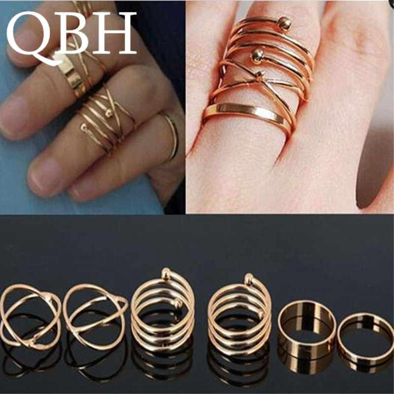 G1016 New Fashion Minimalist Punk Knuckle Rings for Women Finger Ring Set Bijoux Fashion Jewelry Men Anillos Anel 6pcs/lot