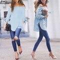 Fanala camiseta de las mujeres hombro de la manera atractiva sin tirantes tops blusas femininas camisa floja ocasional de slash tops clubwear 41