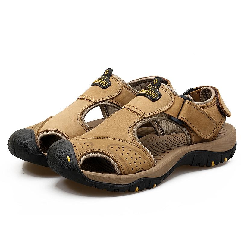 Mens Shoes man Beach Sandals Genuine Leather Walking Quick Drying Summer Fishing Outdoor canyoneering trekking fisherman shoe