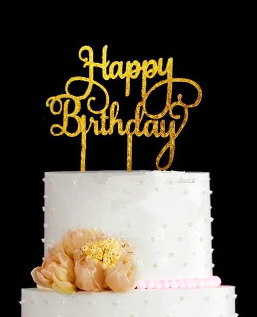 Birthday Decoration Happy Bling Gold Silver Cake Toppers Acrylic Topper Baby Free Shipping