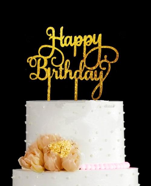 Birthday Decoration Happy Birthday Bling Bling Gold Silver Cake