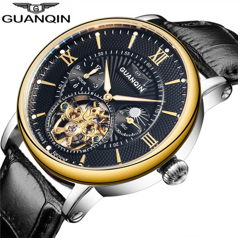 Business Men Tourbillon Automatic Mechanical Watch Moon Phase Time Display Casual Luminous Hands Waterproof Male Watches 2019Business Men Tourbillon Automatic Mechanical Watch Moon Phase Time Display Casual Luminous Hands Waterproof Male Watches 2019