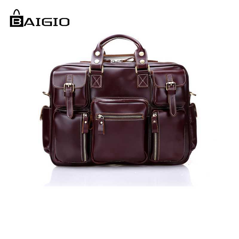 Baigio 2 Colors Men Leather Travel Bag Large Capacity Hand Luggage Bag Vintage Style Red Designer Bag Shoulder & Crossbody Bag men luggage bag real leather 2017 men travel bag large capacity travel men bag