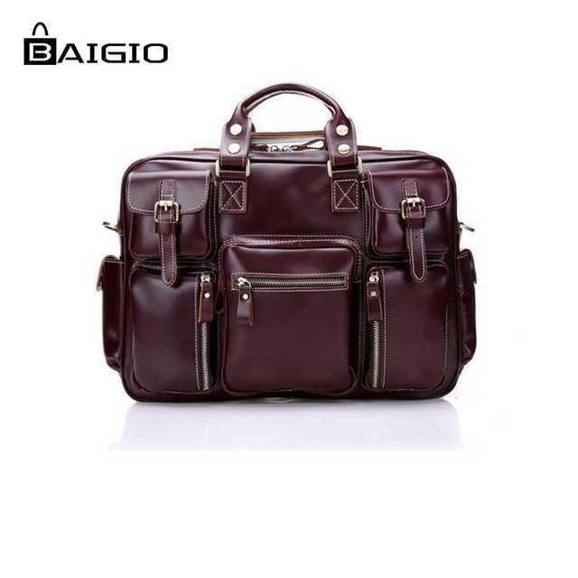 Baigio 2 cores de viagem de couro homens saco de mão de grande capacidade Estilo Designer Saco Vermelho Ombro & Crossbody Saco da bagagem Do Vintage saco