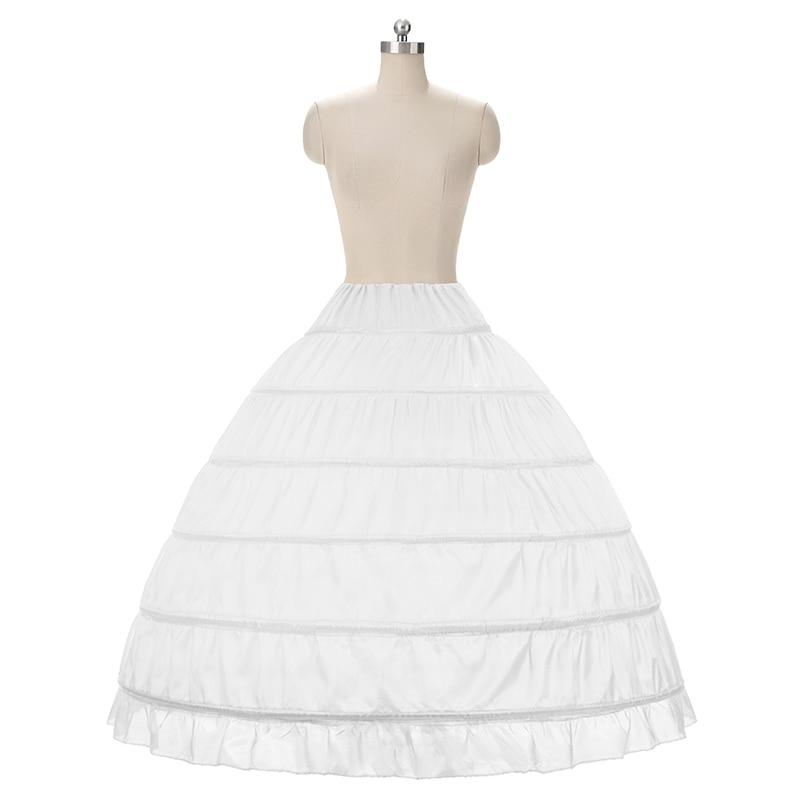 Fustanet e nuseve Ball Fustan Petticoat White 6 Hoops Underskirt - Aksesorë dasme - Foto 2