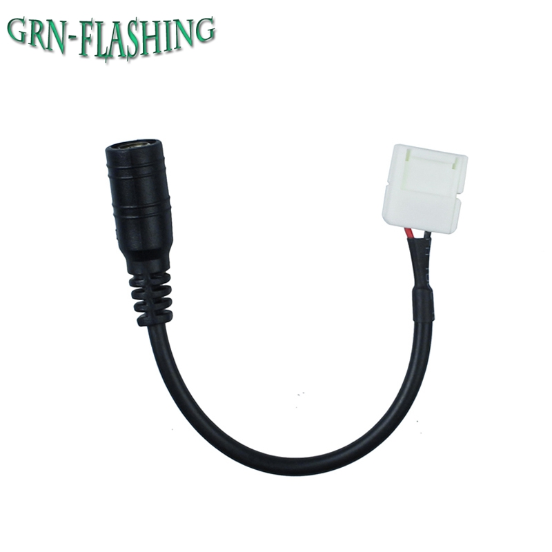 10mm 2pin DC Female Adapter Connector Cable wire For SMD 5050 5630 Single Color led Strip No Need Soldering 10pcs 2pin led strip to wire connector for 10mm single color ip65 waterproof smd 5050 5630 led tape light connection conductor
