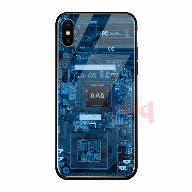 Circuit Board Tempered Glass Hard Back Phone Cases For Iphone 6 6S 7 8 Plus Full Cover For iphone X XR Xs Max TPU Soft Edge Case-H