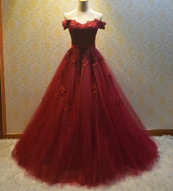 Gothic Dark Red Wedding Dresses Off The Shoulder Lace Up Vintage Colorful Gowns 2017
