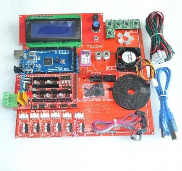Reprap Ramps 1.4 Kit With Mega 2560 r3 + Heatbed mk2b + 2004 LCD Controller + A4988 Driver + Endstops + Cables For 3D Printer цена