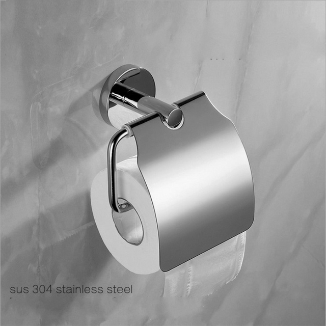 Modern 304 Stainless Steel Chrome Polished Toilet Paper Holder With Cover Silver Tissue Box Roll
