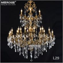 Роскошная большая латунная цветная хрустальная люстра, лампа, хрустальный светильник, светильник 3 яруса 29 Arms, лампа для отеля