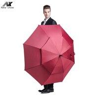 NX Golf Long Handle Male Female Military Oversized 145cm Automatic Black Wind Umbrella Double Umbrella Cloth