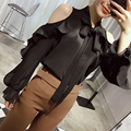 [CHICEVER] 2017 Primavera Strapless Ruffles Collar Lace Up Pullovers Soltos Chiffon Mulheres Camisa Selvagem Blusa New Tops Moda