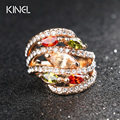Fine Plating Gold Hyperbole Jewelry Colorful Cubic Zirconia Bijoux Women For Ring Unique Styles Christmas Gift Crystal Rings