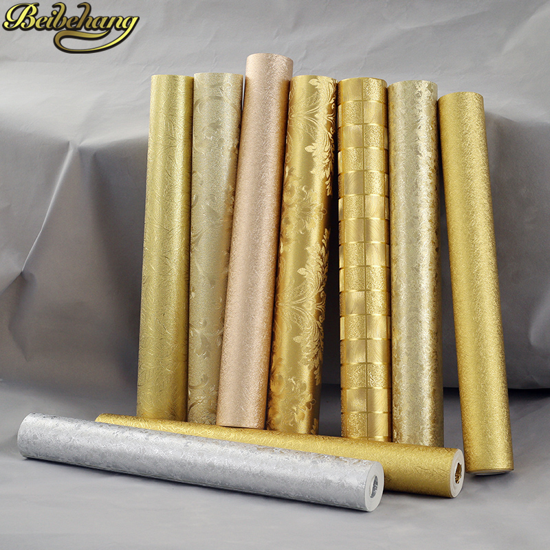 US $33 44 24% OFF|beibehang Gold Foil Wallpaper Roll Silver Wall Paper roll  Luminous Wedding Decoration papel de parede 3D wallpaper for walls-in