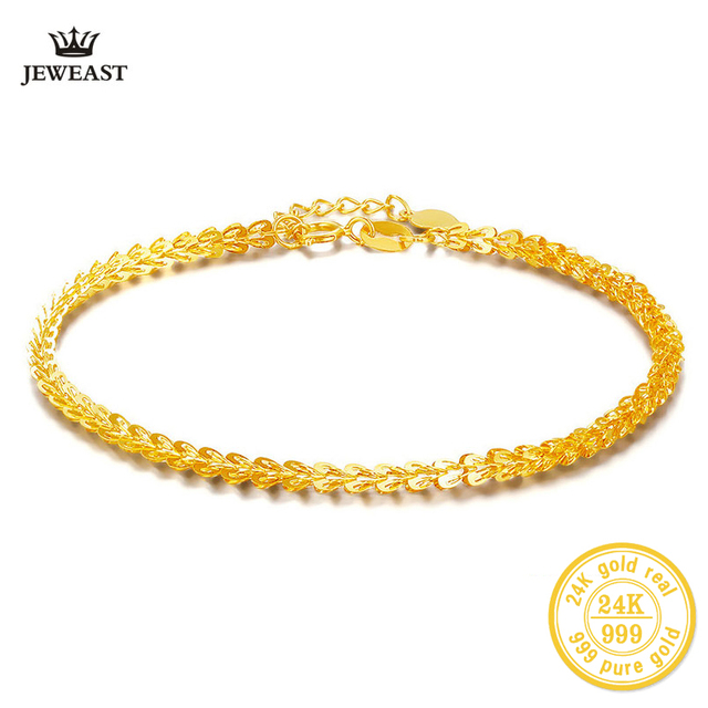 Bbb 24k Gold Bracelet Women Fine Jewelry Engagement Wedding Gift 999 Vintage Bangle Party Trendy