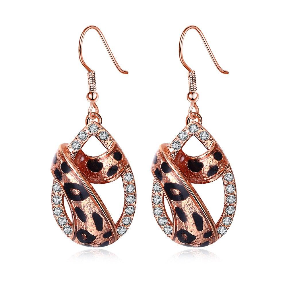 Classic Rose Gold Silver Leopard Grain Drop Earrings Enamel Fashion Women 39 s Shopping Party Anniversary jewelry in Drop Earrings from Jewelry amp Accessories