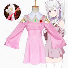 Re:Life in a Different World from Zero Emilia Pink Daily Skirt Cosplay Costume for Women