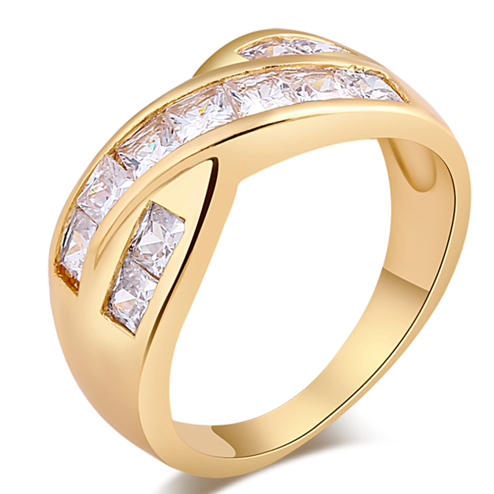 Fashion Luxury Women Engagement Ring Jewelry Cross Design Crystal Zircon Female Wedding Engagement Finger Rings For Women