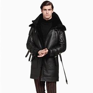 Image 3 - Мужская длинная утолщенная шуба из 100% натуральной овечьей шерсти, Мужская зимняя шуба из натуральной овечьей шерсти, Черная Мужская меховая верхняя одежда