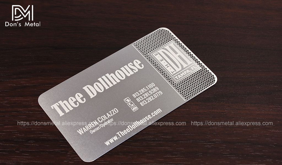 Hollow out  cut out stainless steel business card metal card design metal business card custom