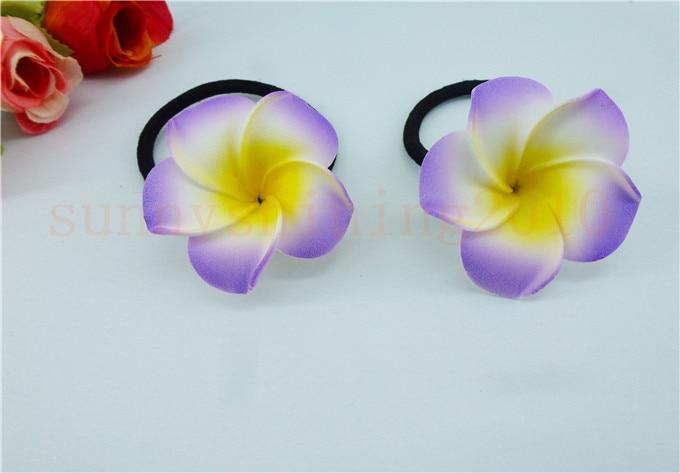 Цветочные украшения для волос ленты для волос пена Гавайский цветок Плюмерия эластичный Гавайский ФРАНЖИПАНИ лента для волос Веревка для волос - Цвет: Фиолетовый
