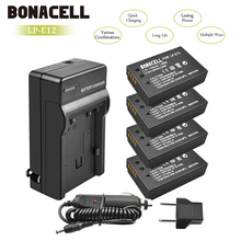bonacell 4pcs LP E12 LP-E12 Li-ion Battery + Charger for Canon Rebel SL1 EOS 100D EOS M EOS M2 EOS M10 Mirrorless Digital Camera mcoplus 12mm f 2 8 manual ultra wide angle lens aps c for canon eos ef m mount mirrorless camera eos m eos m2 eos m10 eos m3